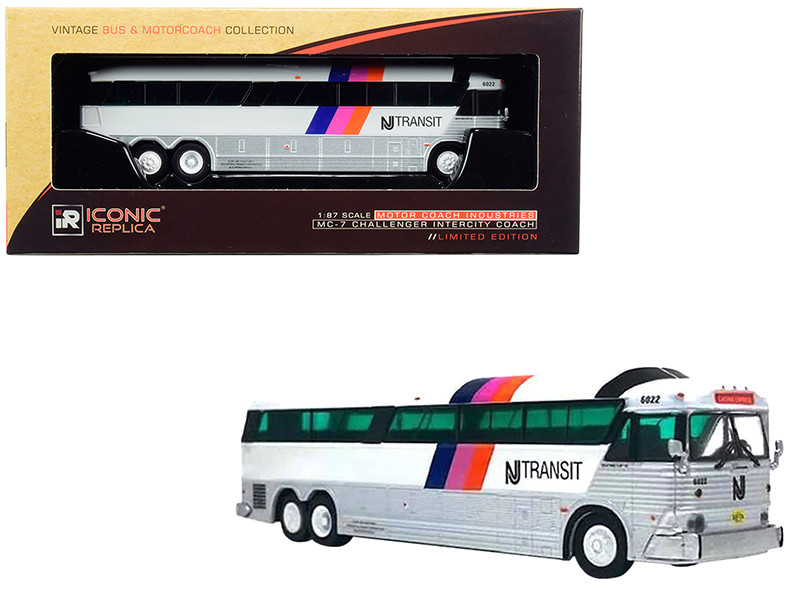 1970 MCI MC-7 Challenger Intercity Motorcoach Casino Express NJ Transit New Jersey Transit White Vintage Bus & Motorcoach Collection 1/87 HO Diecast Model Iconic Replicas 87-0184