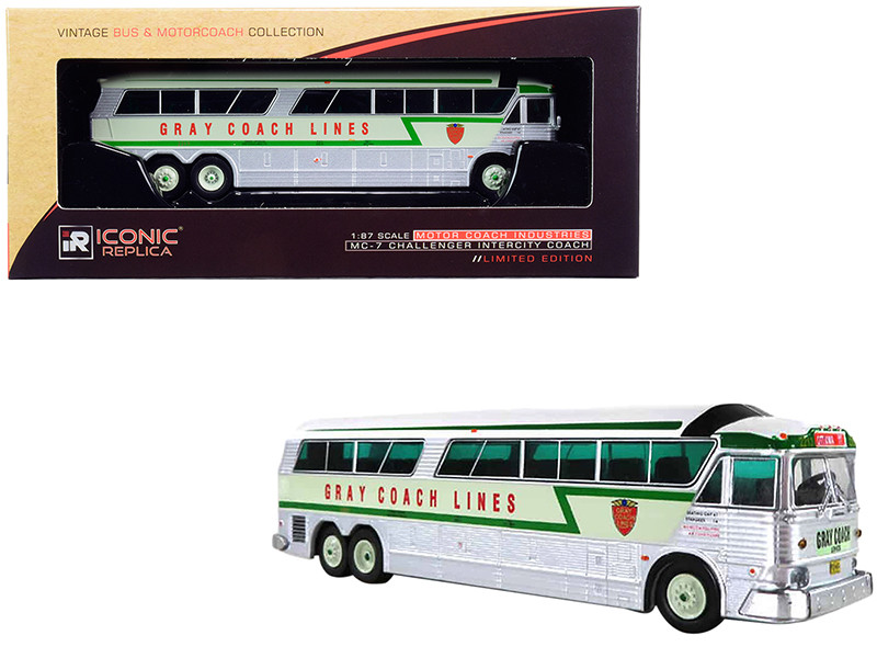 1970 MCI MC-7 Challenger Intercity Motorcoach Gray Coach Lines Destination Ottawa Canada Green Silver Vintage Bus & Motorcoach Collection 1/87 HO Diecast Model Iconic Replicas 87-0186