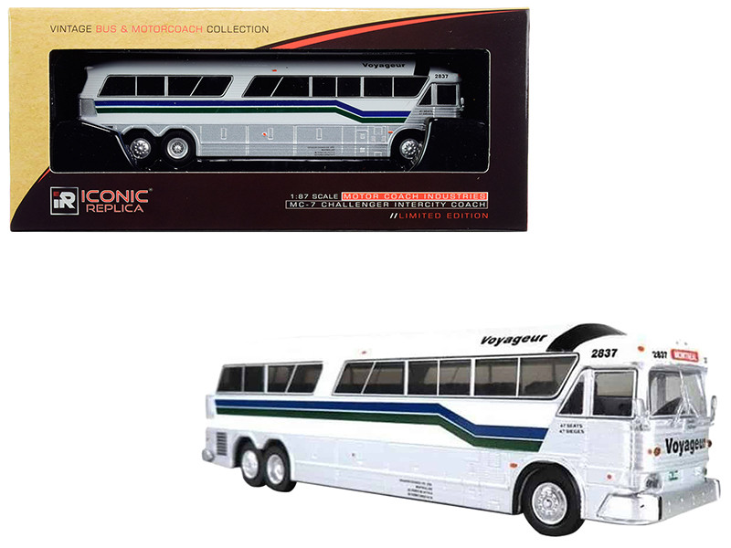 1970 MCI MC-7 Challenger Intercity Motorcoach Voyageur Destination Montreal Canada White Silver Stripes Vintage Bus & Motorcoach Collection 1/87 HO Diecast Model Iconic Replicas 87-0189