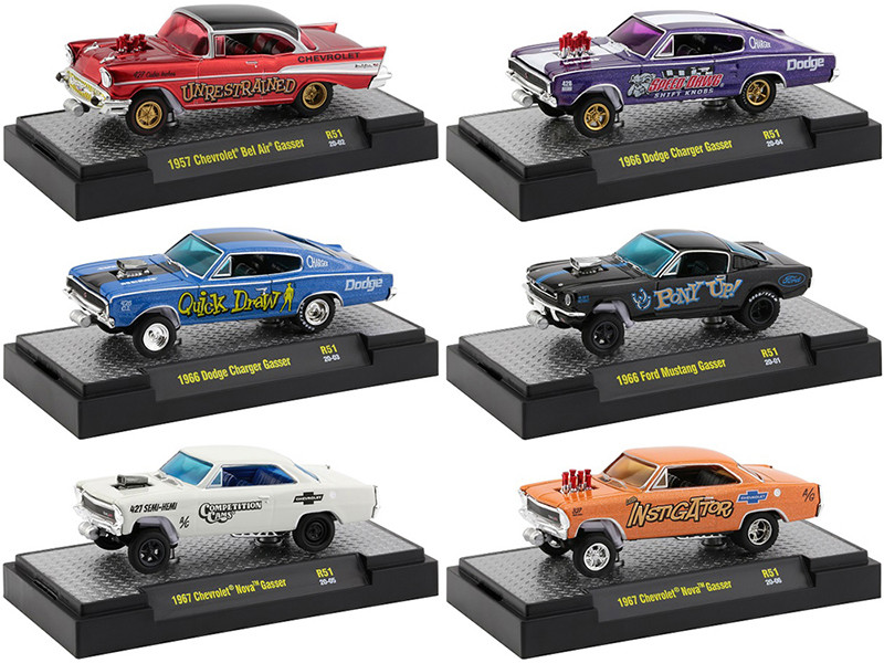 Gassers Release 51 Set of 6 Cars DISPLAY CASES 1/64 Diecast Model Cars M2 Machines 32600-51