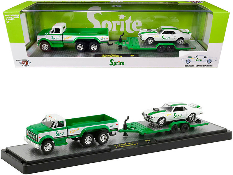 1970 Chevrolet C60 Pickup Truck Custom Green White Trailer 1968 Pontiac Firebird 400 HO White Green Stripes Sprite Set Limited Edition 4000 pieces Worldwide 1/64 Diecast Models M2 Machines 56000-TW03