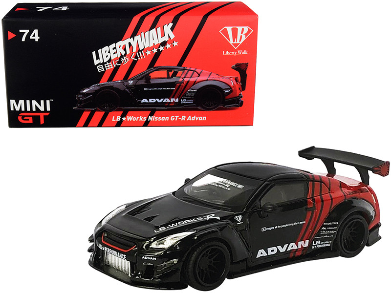 Nissan GT-R R35 Type 2 RHD Right Hand Drive LB Works LibertyWalk Rear Wing Version 3 Black Red ADVAN Japan Exclusive 1/64 Diecast Model Car True Scale Miniatures MGT00074