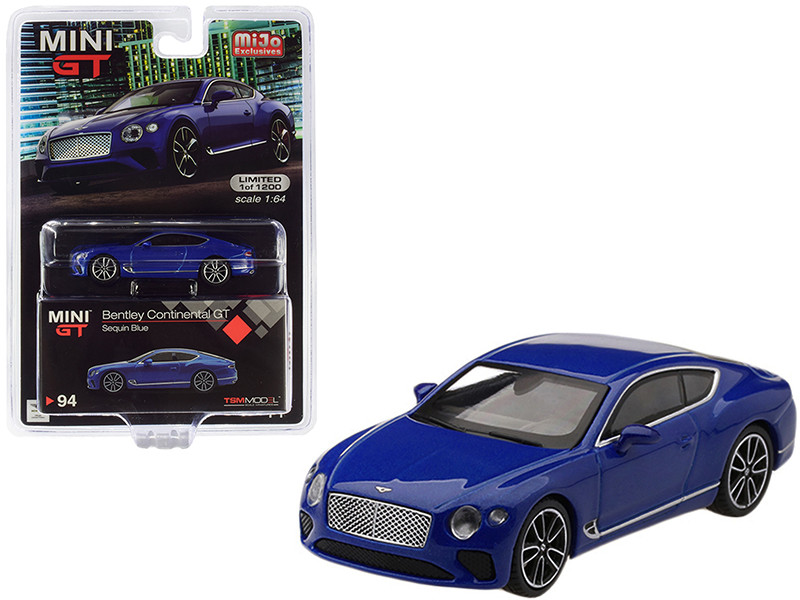 2018 Bentley Continental GT Sequin Blue Metallic Limited Edition 1200 pieces Worldwide 1/64 Diecast Model Car True Scale Miniatures MGT00094