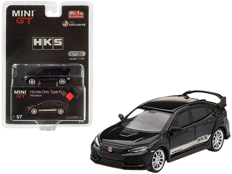 Honda Civic Type R FK8 RHD Right Hand Drive Black White Stripes HKS Limited Edition 1200 pieces Worldwide 1/64 Diecast Model Car True Scale Miniatures MGT00097