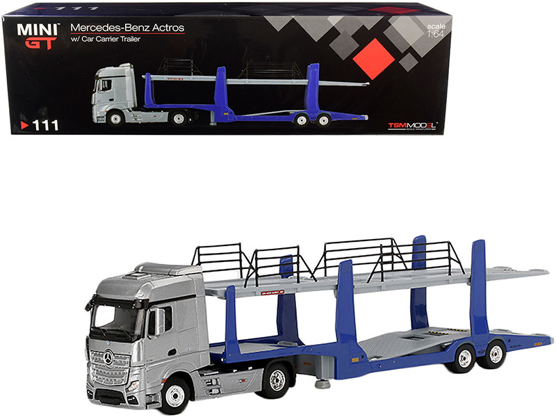 Mercedes Benz Actros Silver Blue Car Carrier Trailer Car Transporter 1/64 Diecast Model True Scale Miniatures MGT000111