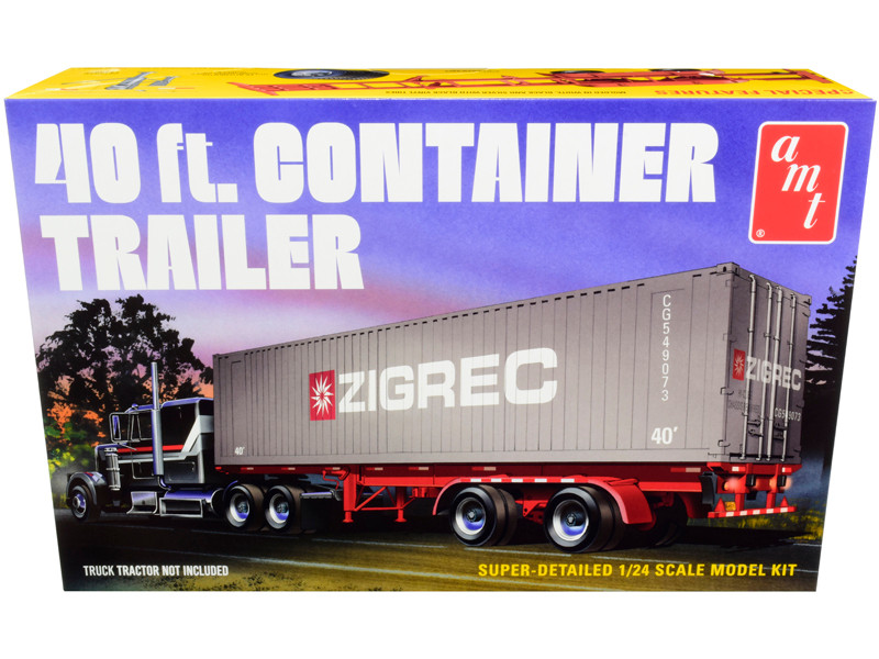 Skill 3 Model Kit 40' Container Trailer 1/24 Scale Model AMT AMT1196