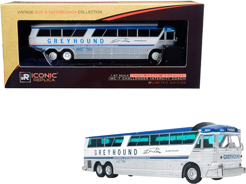1970 MCI MC-7 Challenger Intercity Motorcoach Greyhound Scenicruiser Destination Phoenix Arizona Vintage Bus & Motorcoach Collection 1/87 HO Diecast Model Iconic Replicas 87-0182