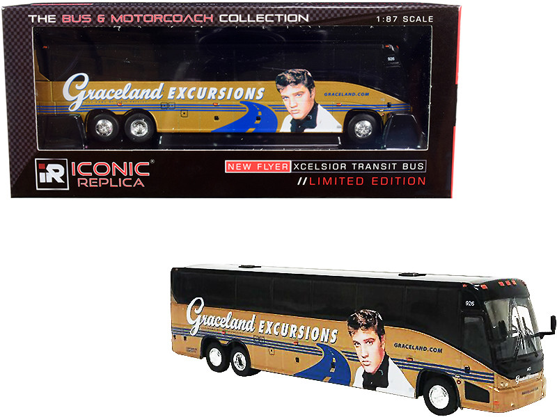 MCI J4500 Motorcoach Bus Graceland Excursions Birthplace of Elvis Presley Tour Gold The Bus & Motorcoach Collection 1/87 HO Diecast Model Iconic Replicas 87-0201
