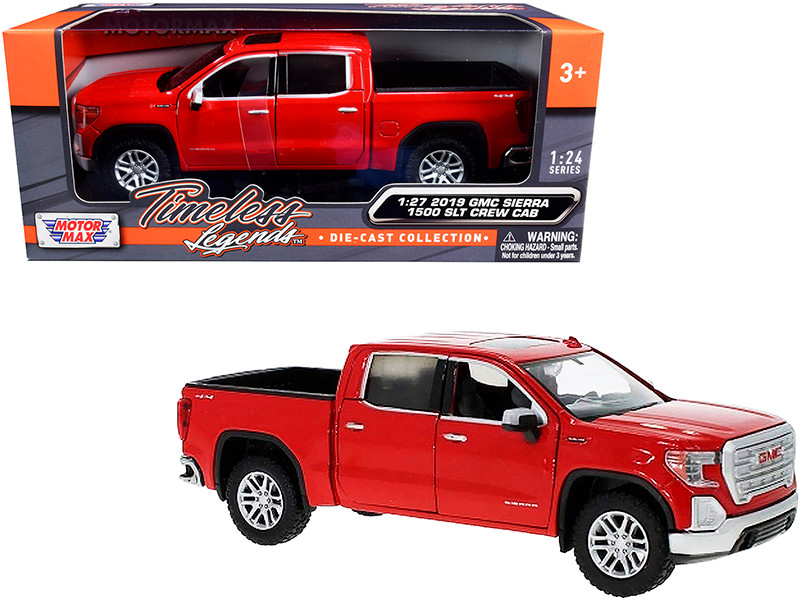 2019 GMC Sierra 1500 SLT Crew Cab Pickup Truck Red 1/24 1/27 Diecast Model Car Motormax 79361