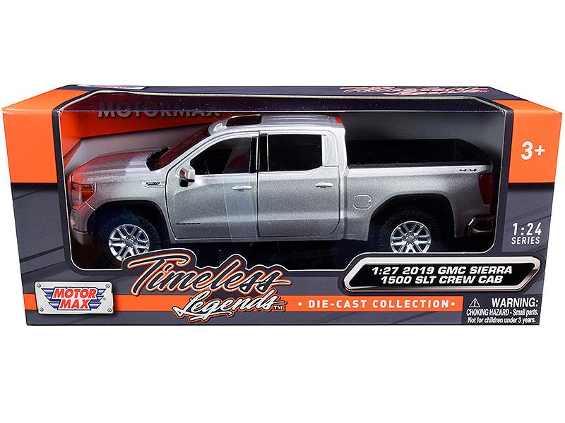 2019 GMC Sierra 1500 SLT Crew Cab Pickup Truck Silver Metallic 1/24 1/27 Diecast Model Car Motormax 79361