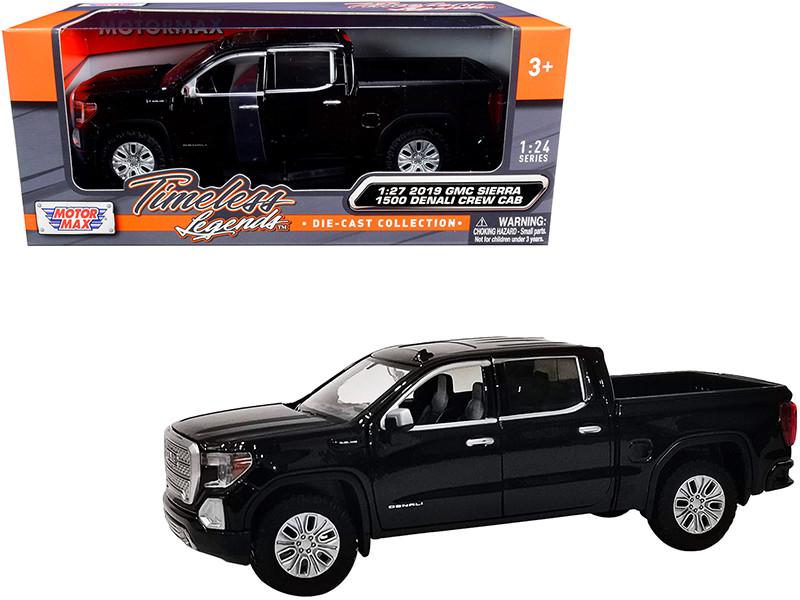 2019 GMC Sierra 1500 Denali Crew Cab Pickup Truck Black 1/24 1/27 Diecast Model Car Motormax 79362
