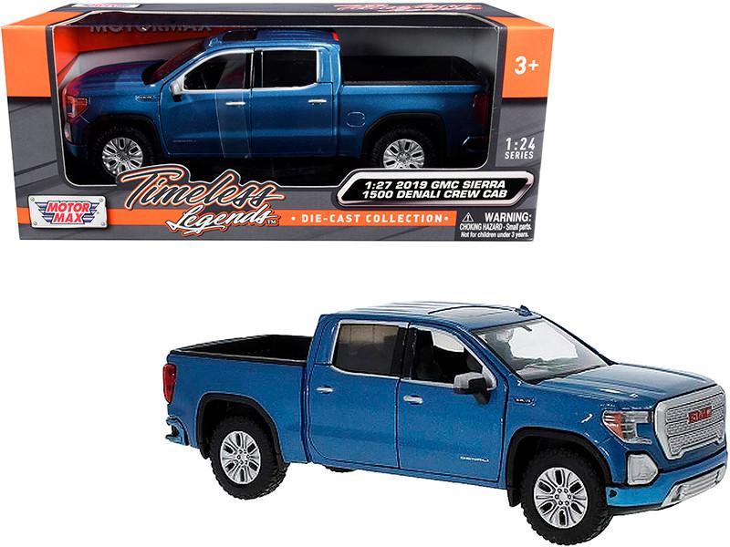 2019 GMC Sierra 1500 Denali Crew Cab Pickup Truck Blue Metallic 1/24 1/27 Diecast Model Car Motormax 79362