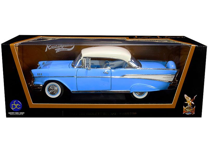 1957 Chevrolet Bel Air Hardtop Light Blue White Top 1/18 Diecast Model Car Road Signature 92109