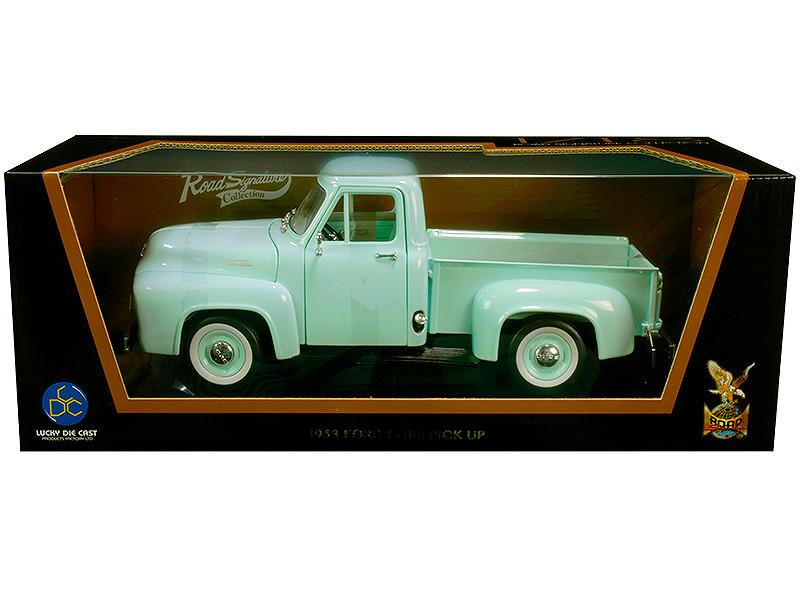 1953 Ford F-100 Pickup Truck Light Green 1/18 Diecast Model Car Road Signature 92148