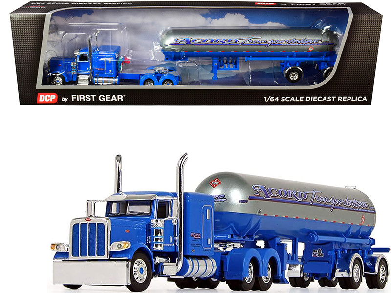 "Peterbilt 389 63"" Flattop Sleeper Cab Mississippi LP Tank Trailer Acord Transportation Blue Silver 1/64 Diecast Model DCP First Gear 60-0690"