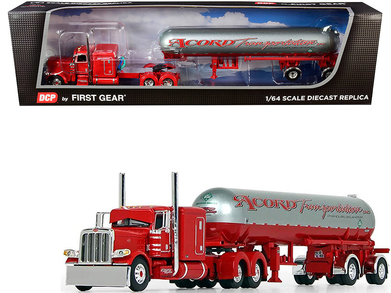 "Peterbilt 389 63"" Flattop Sleeper Cab Mississippi LP Tank Trailer Acord Transportation Red Silver 1/64 Diecast Model DCP First Gear 60-0691"