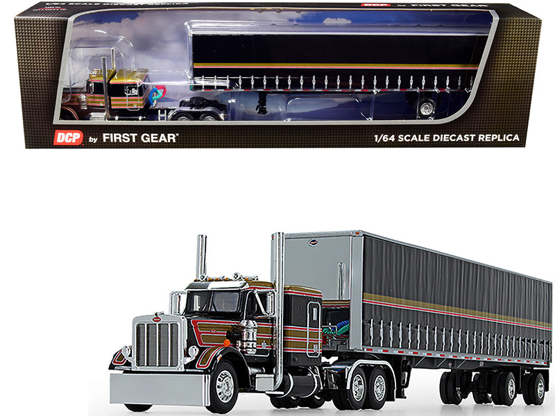 "Peterbilt 359 63"" Flattop Sleeper Cab 53' Utility Tautliner Spread-Axle Trailer Black Gold Red Stripes 1/64 Diecast Model DCP First Gear 60-0753"