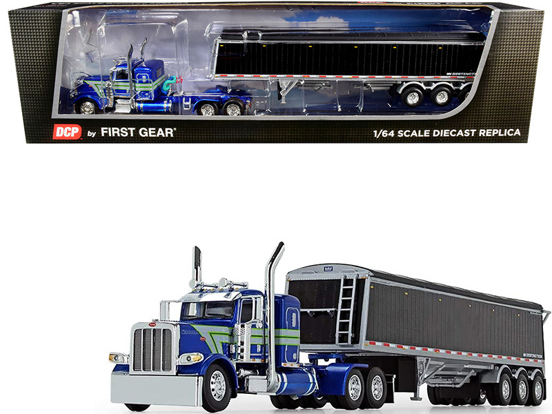 "Peterbilt 389 36"" Flattop Sleeper Cab Lode King Distinction Tri-Axle Hopper Trailer Blue Metallic Black 1/64 Diecast Model DCP First Gear 60-0746"
