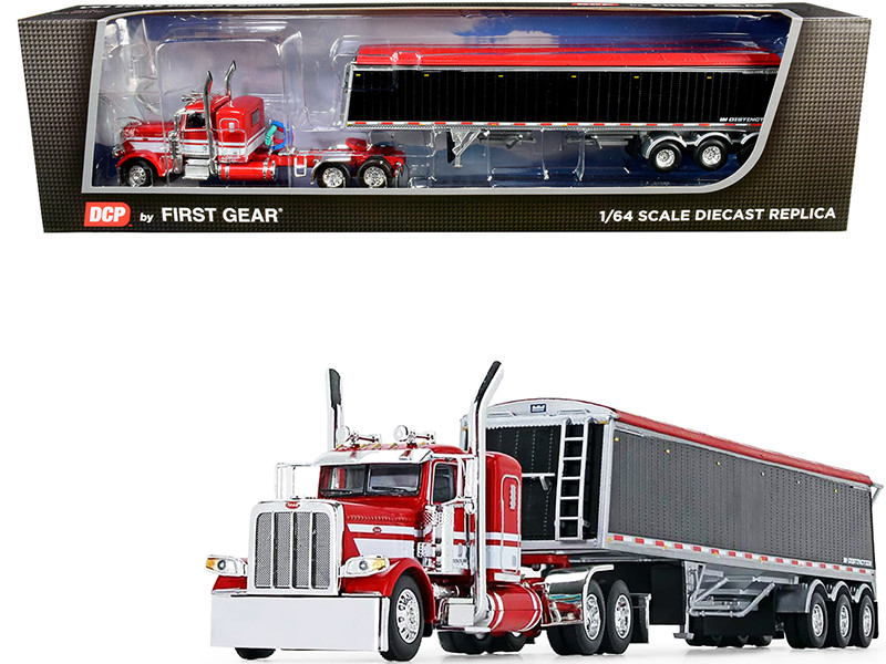 "Peterbilt 389 36"" Flattop Sleeper Cab Lode King Distinction Tri-Axle Hopper Trailer Red Black 1/64 Diecast Model DCP First Gear 60-0747"