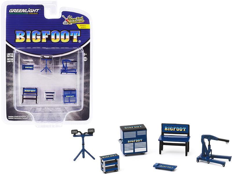 Bigfoot Monster Truck 6 piece Shop Tools Set Shop Tool Accessories Series 2 1/64 Greenlight 16040 A