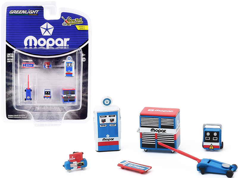 MOPAR Parts & Service 6 piece Shop Tools Set Shop Tool Accessories Series 2 1/64 Greenlight 16040 B