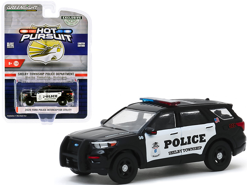2020 Ford Police Interceptor Utility Shelby Township Police Department Shelby Township Michigan Hot Pursuit Series 1/64 Diecast Model Car Greenlight 30143
