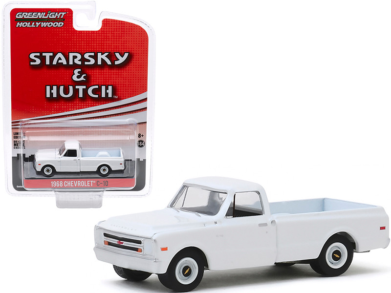 1968 Chevrolet C-10 Pickup Truck White Starsky and Hutch 1975 1979 TV Series Hollywood Special Edition 1/64 Diecast Model Car Greenlight 44855 D