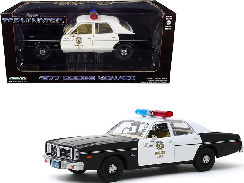 1977 Dodge Monaco Metropolitan Police Black White The Terminator 1984 Movie 1/24 Diecast Model Car Greenlight 84101