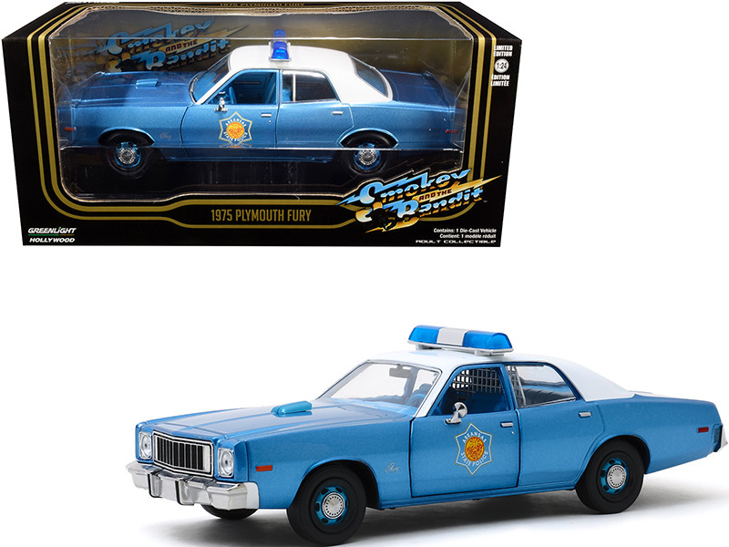 1975 Plymouth Fury Police Pursuit Arkansas State Police Blue Metallic White Top Smokey and The Bandit 1977 Movie 1/24 Diecast Model Car Greenlight 84102