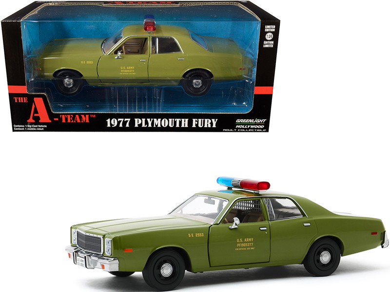 1977 Plymouth Fury US Army Police Army Green The A-Team 1983 1987 TV Series 1/24 Diecast Model Car Greenlight 84103