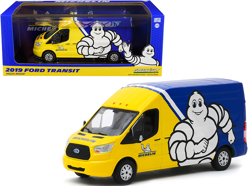 2019 Ford Transit High Roof Van Michelin Tires Yellow Blue 1/43 Diecast Model Greenlight 86175