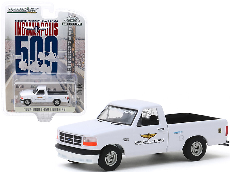 1994 Ford F-150 Lightning Pickup Truck White 78th Annual Indianapolis 500 Mile Race Official Truck Hobby Exclusive 1/64 Diecast Model Car Greenlight 30103