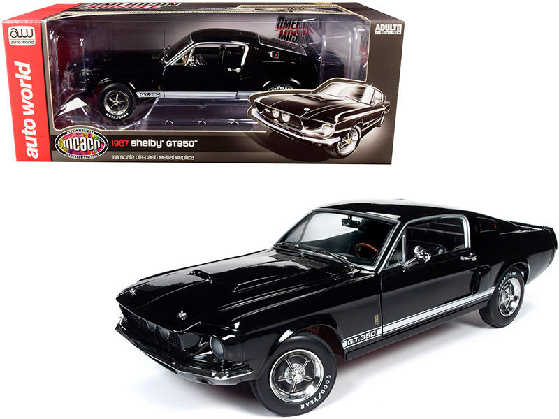 1967 Ford Mustang Shelby GT350 Hardtop Raven Black White Stripes Muscle Car & Corvette Nationals MCACN 1/18 Diecast Model Car Autoworld AMM1202
