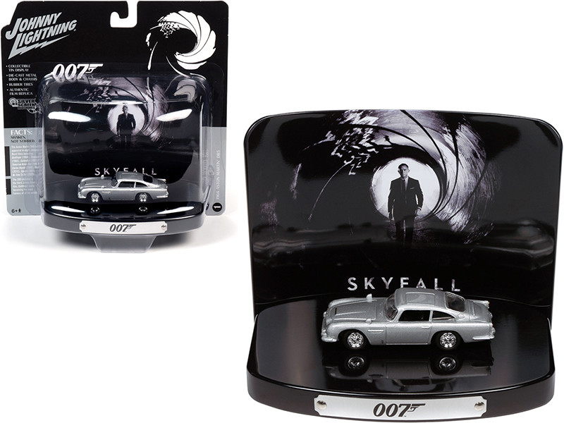 1964 Aston Martin DB5 Silver Birch Collectible Tin Display 007 Skyfall 2012 Movie 23rd in the James Bond Series 1/64 Diecast Model Car Johnny Lightning JLDR013 JLSP083