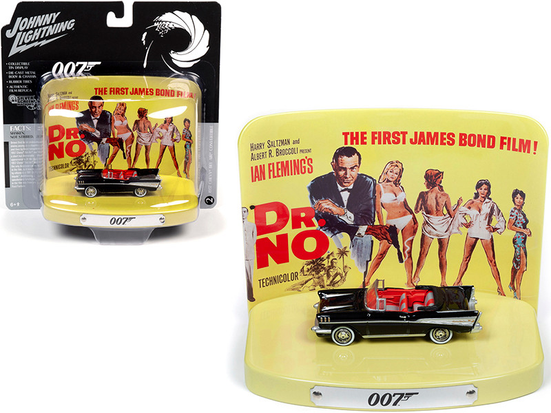 1957 Chevrolet Bel Air Convertible Onyx Black Collectible Tin Display 007 Dr. No 1962 Movie 1st in the James Bond Series 1/64 Diecast Model Car Johnny Lightning JLDR013 JLSP084