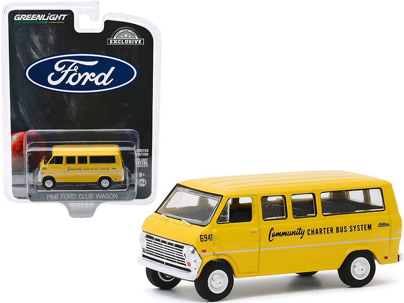 1968 Ford Club Wagon School Bus Yellow Community Charter Bus System Hobby Exclusive 1/64 Diecast Model Greenlight 30155