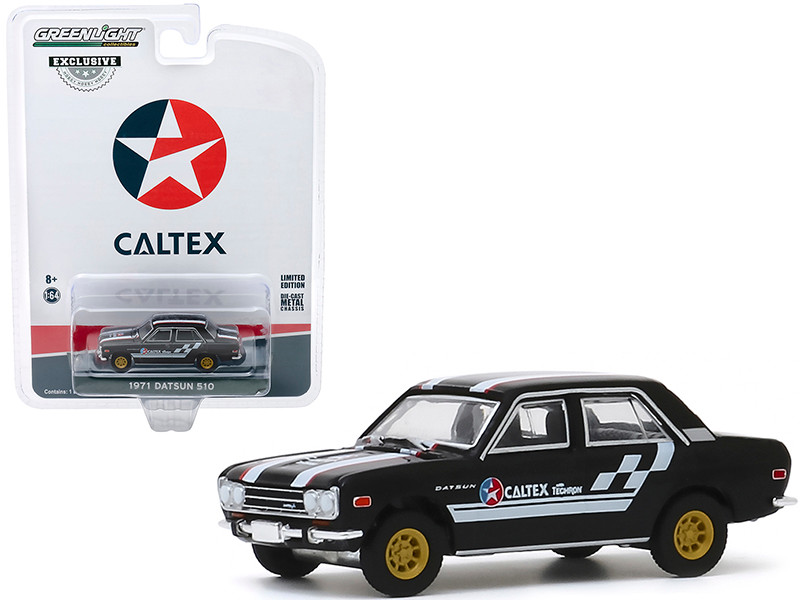 1971 Datsun 510 4-Door Sedan Caltex with Techron Black Stripes Hobby Exclusive 1/64 Diecast Model Car Greenlight 30169