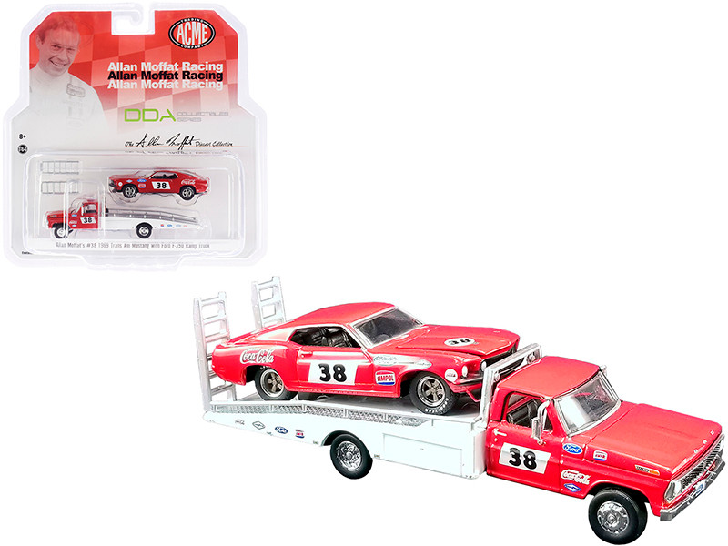 Ford F-350 Ramp Truck #38 Red White 1969 Ford Mustang Trans Am #38 Red Coca-Cola Allan Moffat Racing DDA Collectibles Series ACME Exclusive 1/64 Diecast Model Cars Greenlight ACME 51269