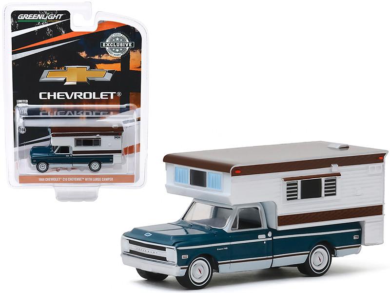 1969 Chevrolet C10 Cheyenne Pickup Truck Large Camper Hobby Exclusive 1/64 Diecast Model Car Greenlight 30121