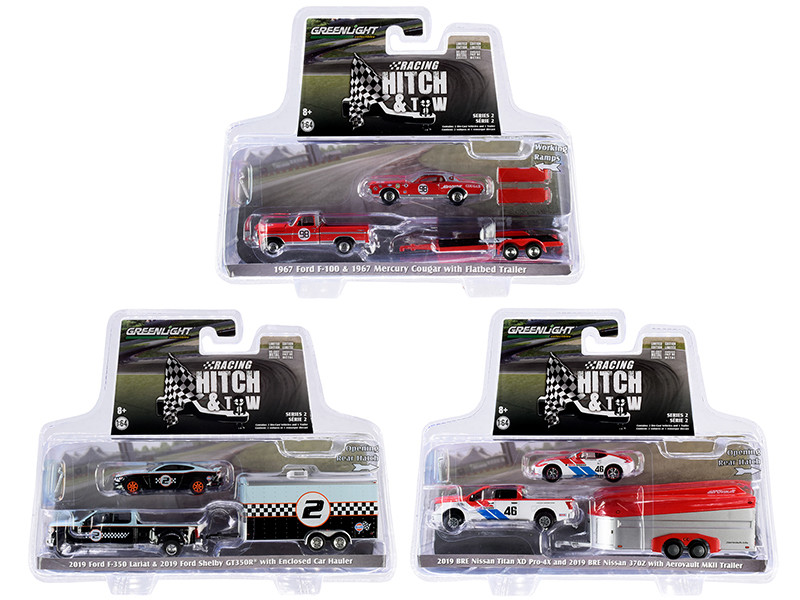 Racing Hitch & Tow Series 2 Set of 3 pieces 1/64 Diecast Model Cars Greenlight 31090