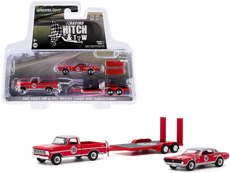 1967 Ford F-100 Pickup Truck Red Silver Top 1967 Mercury Cougar #98 Dan Gurney Flatbed Trailer Racing Hitch and Tow Series 2 1/64 Diecast Model Cars Greenlight 31090 A