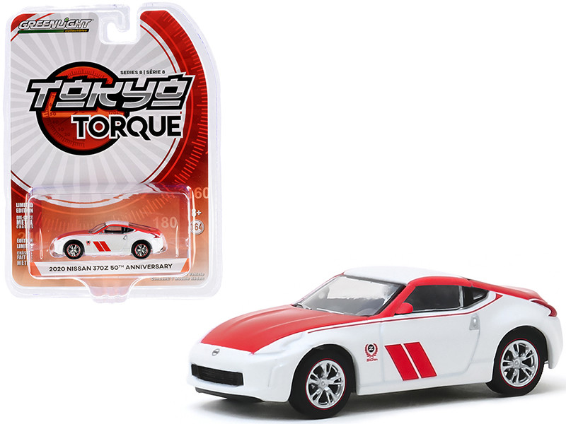 2020 Nissan 370Z Coupe 50th Anniversary White Red Tokyo Torque Series 8 1/64 Diecast Model Car Greenlight 47060 F