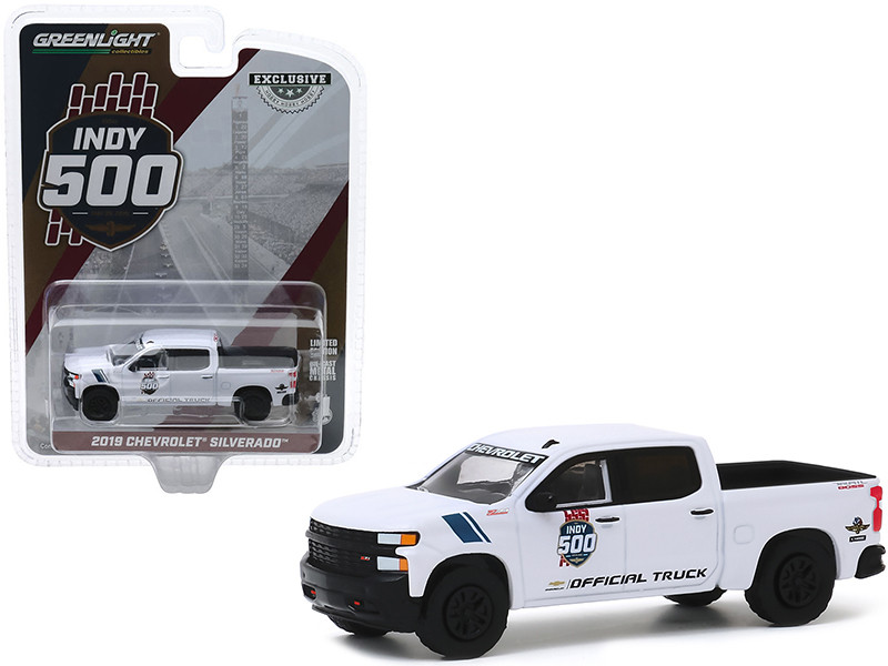 2019 Chevrolet Silverado 1500 Trail Boss Pickup Truck White 103rd Running of the Indianapolis 500 Official Truck Hobby Exclusive 1/64 Diecast Model Car Greenlight 30163