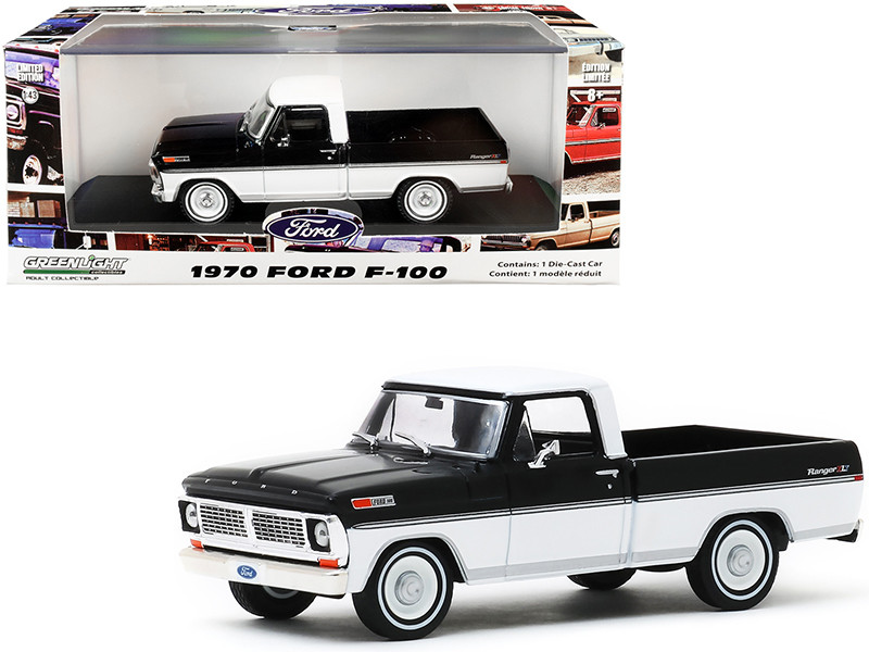 1970 Ford F-100 Ranger XLT Pickup Truck Raven Black Pure White 1/43 Diecast Model Car Greenlight 86338