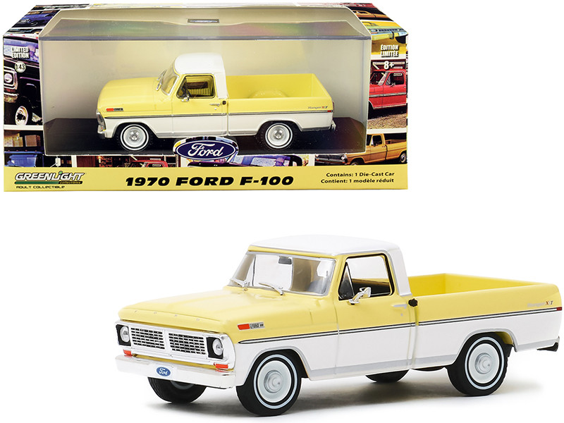 1970 Ford F-100 Ranger XLT Pickup Truck Pinto Yellow Pure White 1/43 Diecast Model Car Greenlight 86339