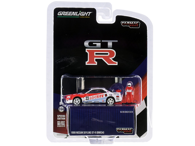 1999 Nissan Skyline GT-R BNR34 #23 Loctite Driver Figurine Tarmac Works Exclusive 1/64 Diecast Model Car Greenlight 51185