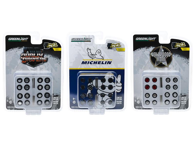 Wheel & Tire Packs Series 3 Set of 3 Multipacks 1/64 Greenlight 16050