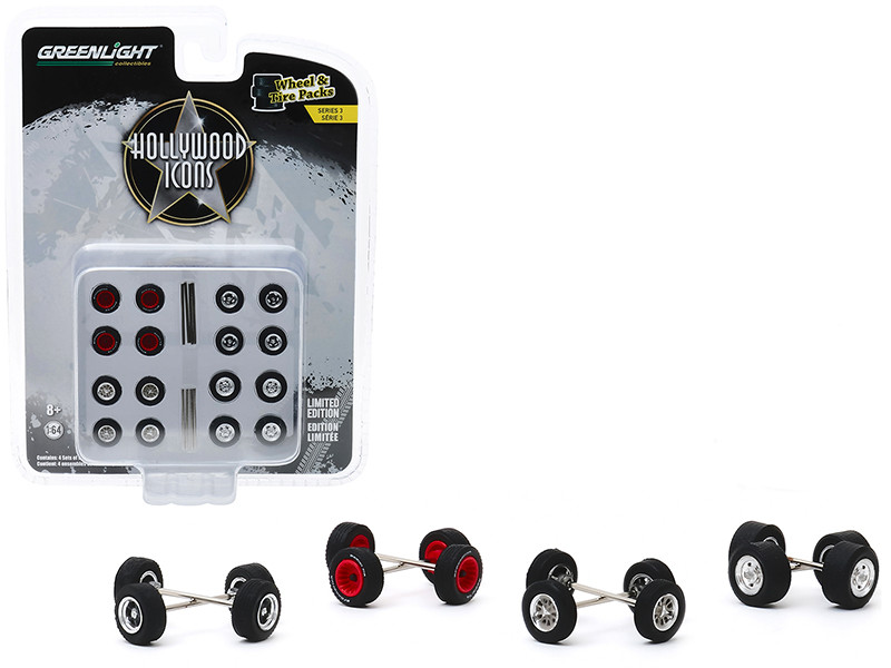 Hollywood Icons Wheels Tires Multipack Set of 24 pieces Wheel & Tire Packs Series 3 1/64 Greenlight 16050 C
