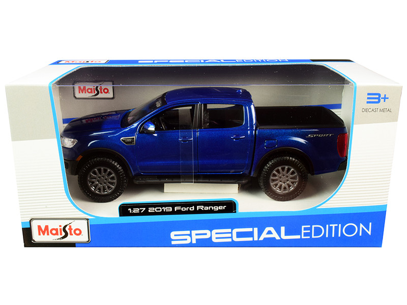 2019 Ford Ranger Lariat Sport Pickup Truck Dark Blue Metallic 1/27 Diecast Model Car Maisto 31521