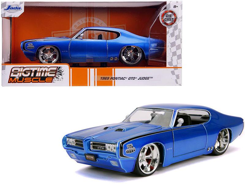 1969 Pontiac GTO Judge Blue Bigtime Muscle 1/24 Diecast Model Car Jada 31667